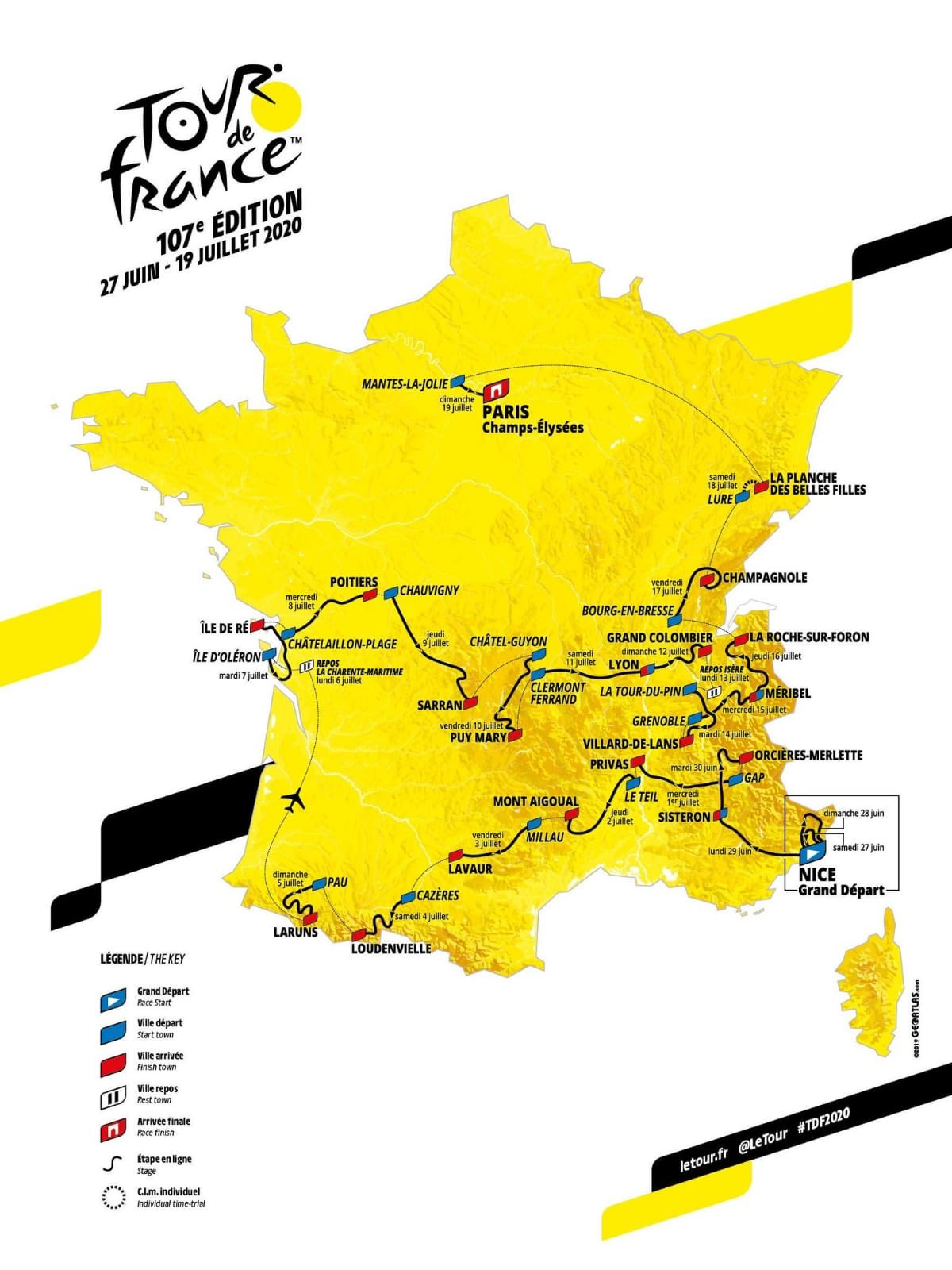 etapas del tour y recorrido